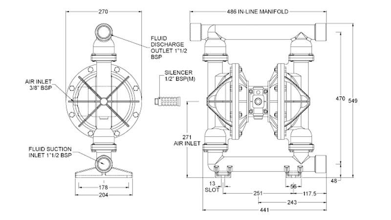 Dibujo del despiece de la bomba neumática metálica B40 de Blagdon Pump