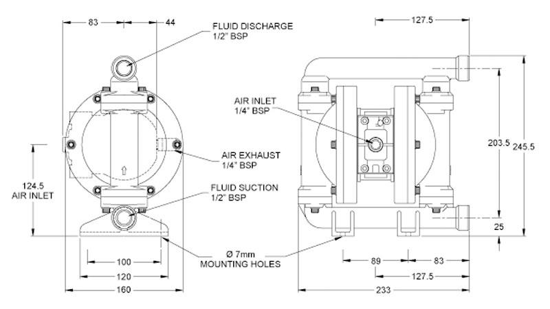 Dibujo del despiece de la bomba neumática metálica B06 de Blagdon Pump