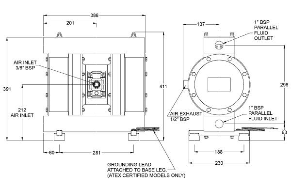 Dibujo del despiece de la bomba neumática metálica B25 de Blagdon Pump
