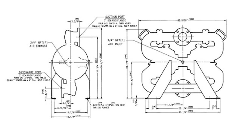 Dibujo del despiece de la bomba neumática metálica B50 de Blagdon Pump