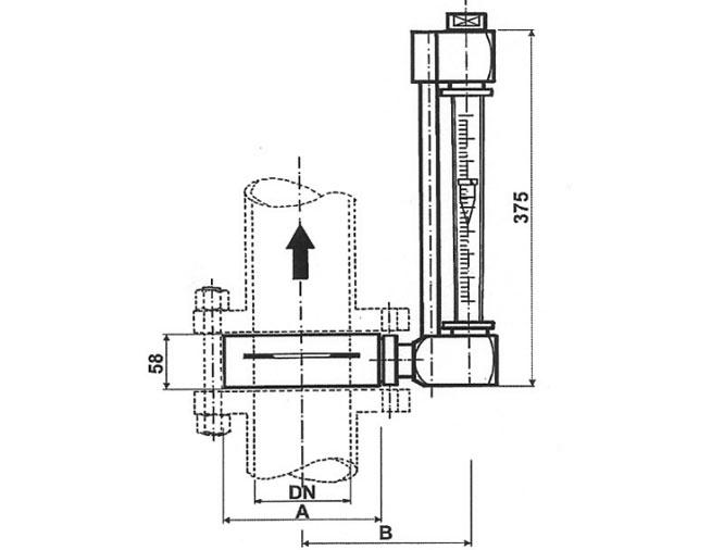 Esquema de caudalímetros Serie T y TP La Técnica Fluidi