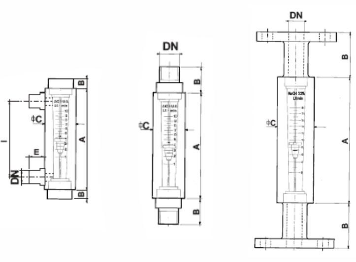 Esquema de caudalímetros Series R La Técnica Fluidi
